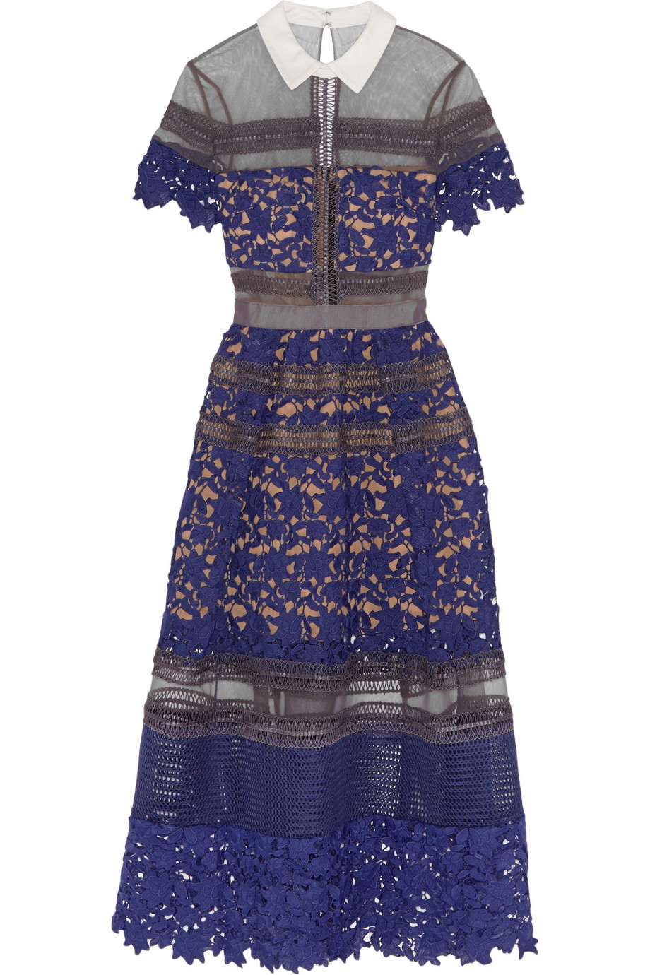 3016697225241 Self-Portrait Liliana Paneled Floral-Lace And Mesh Dress in Purple ...