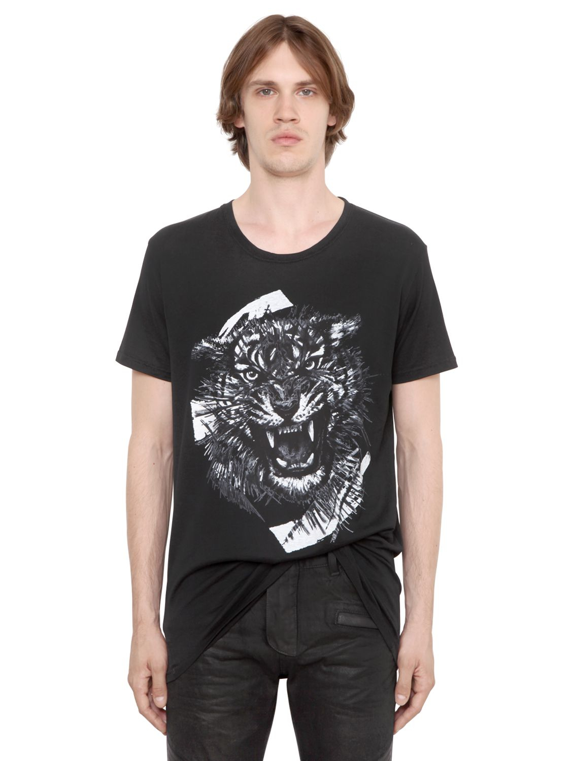 83097327 Balmain Tiger Printed Cotton Jersey T-shirt in Black for Men - Lyst