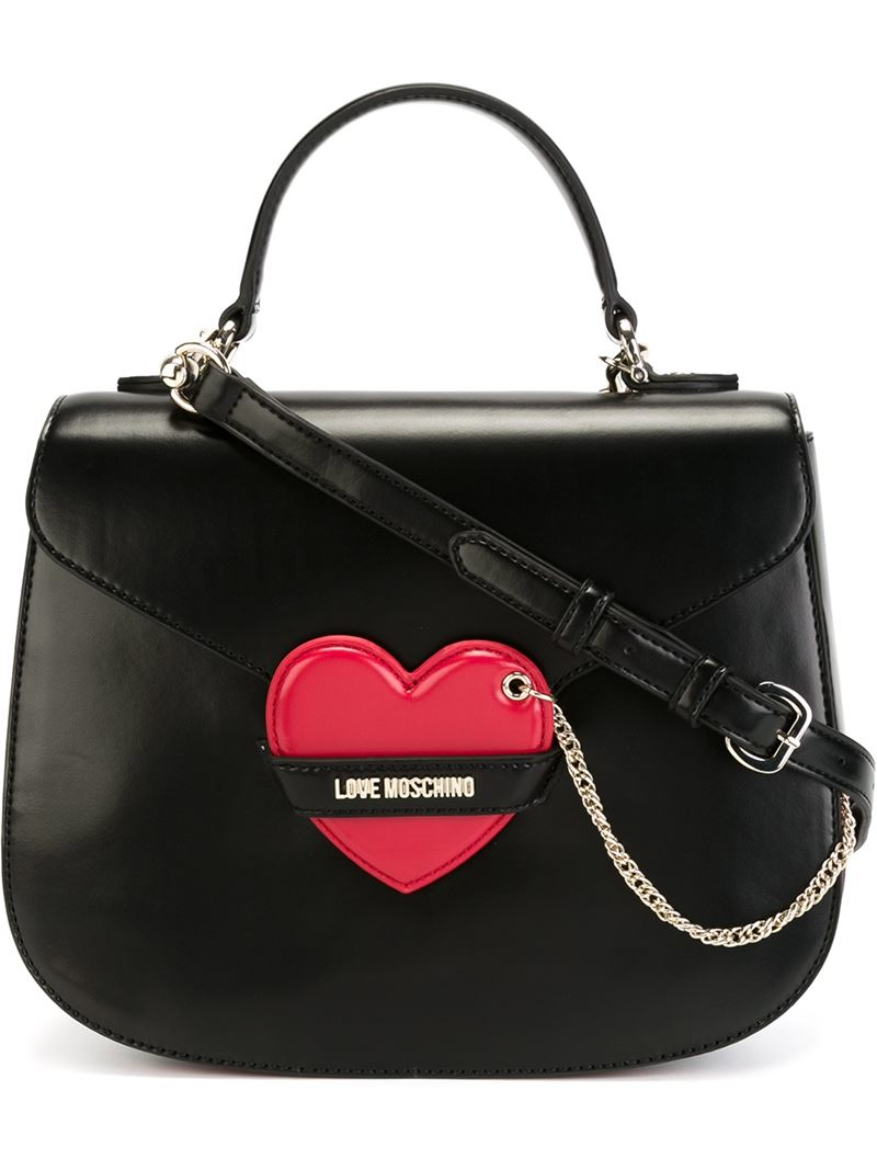 11c6e3b884a0d Lyst - Love Moschino Heart Detail Tote in Black