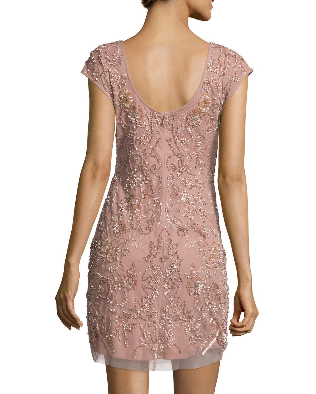 22c18e7e Aidan Mattox Cap-sleeve Beaded Cocktail Dress in Pink - Lyst