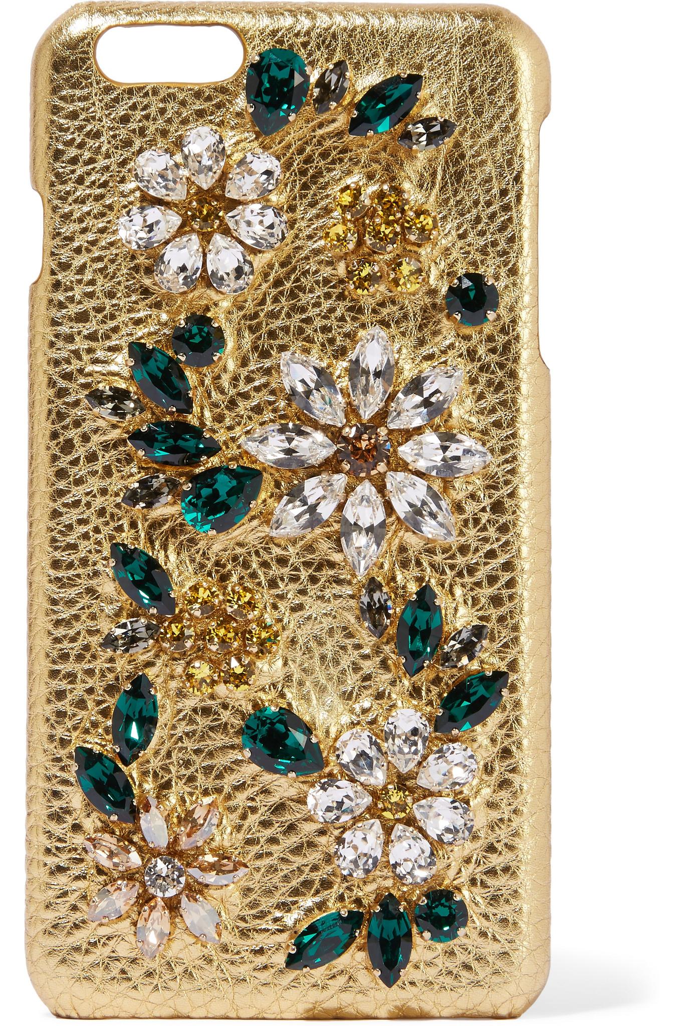 Dolce   Gabbana Swarovski Crystal-embellished Metallic Textured ... 1970f0630a