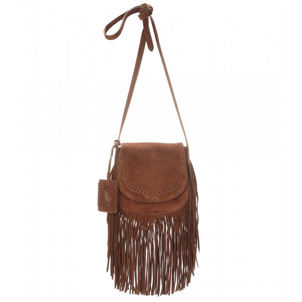 63883c5e6c9 Polo Ralph Lauren Fringed Suede Shoulder Bag in Brown - Lyst