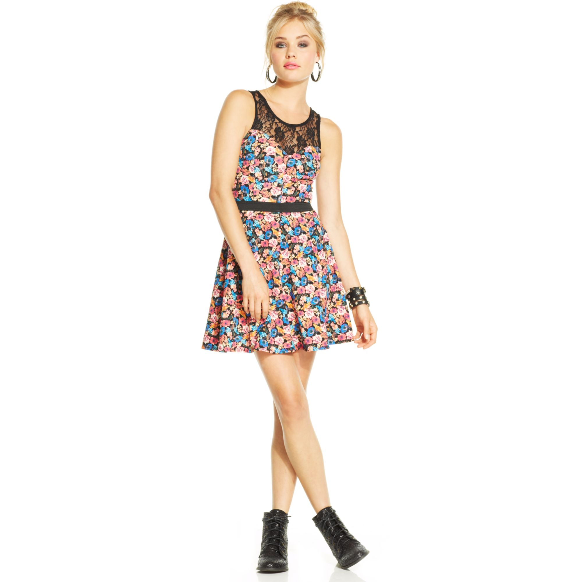 Material Girl Juniors Lace Illusion Dress In Electric