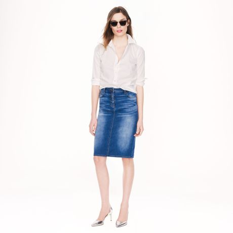 j crew denim pencil skirt in blue medium hickman wash lyst