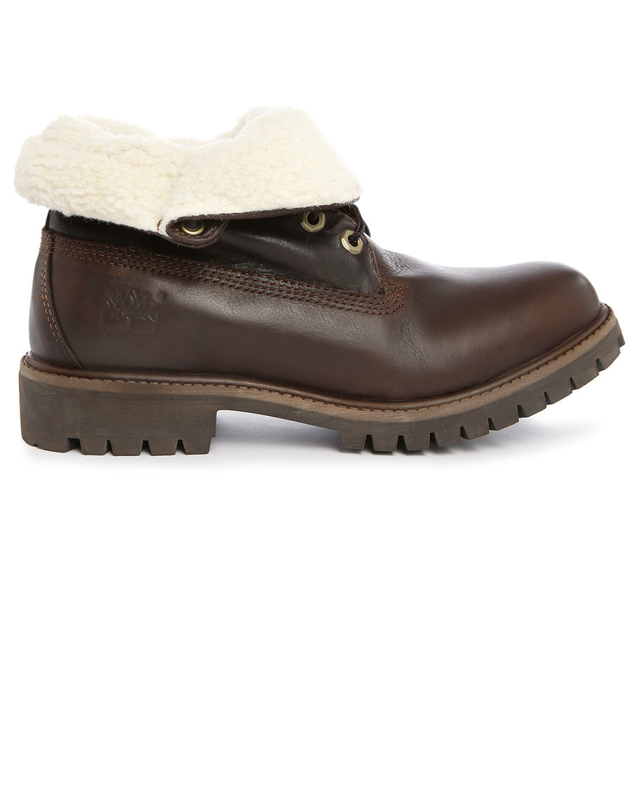 timberland 6 inch roll top brown leather boots in brown