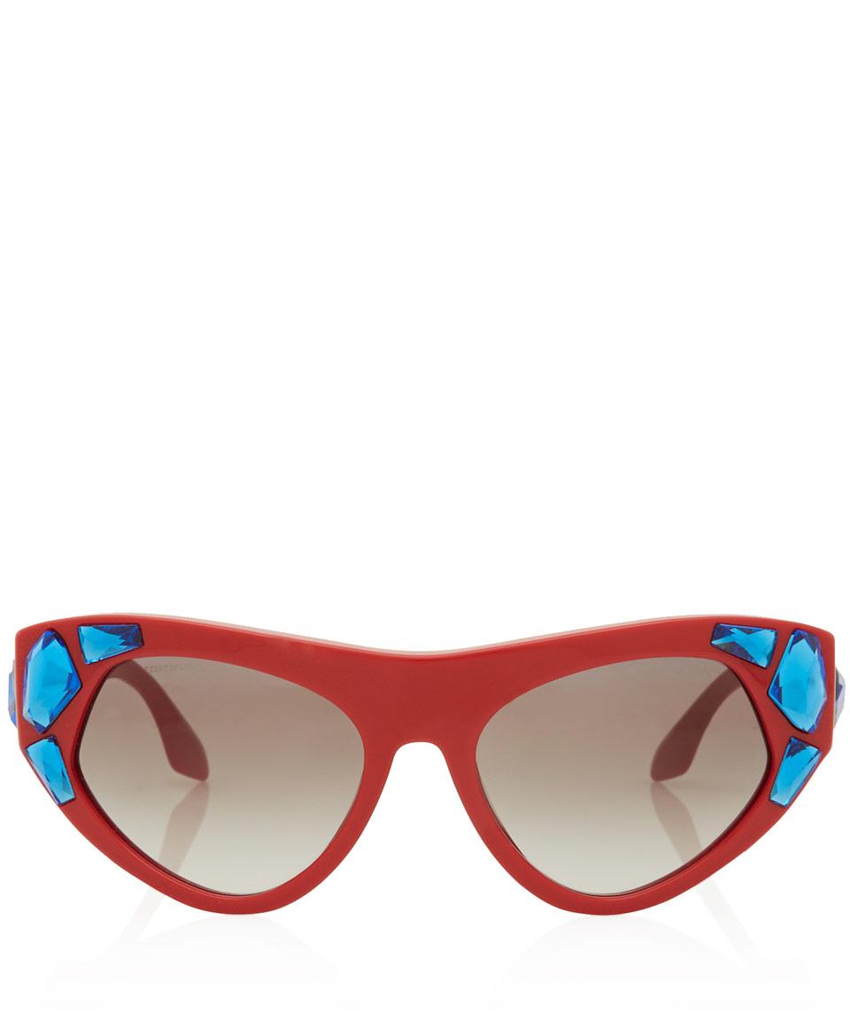 a078c922a1b8 ... low price lyst prada red crystal irregular frame sunglasses in blue  ba861 039d1