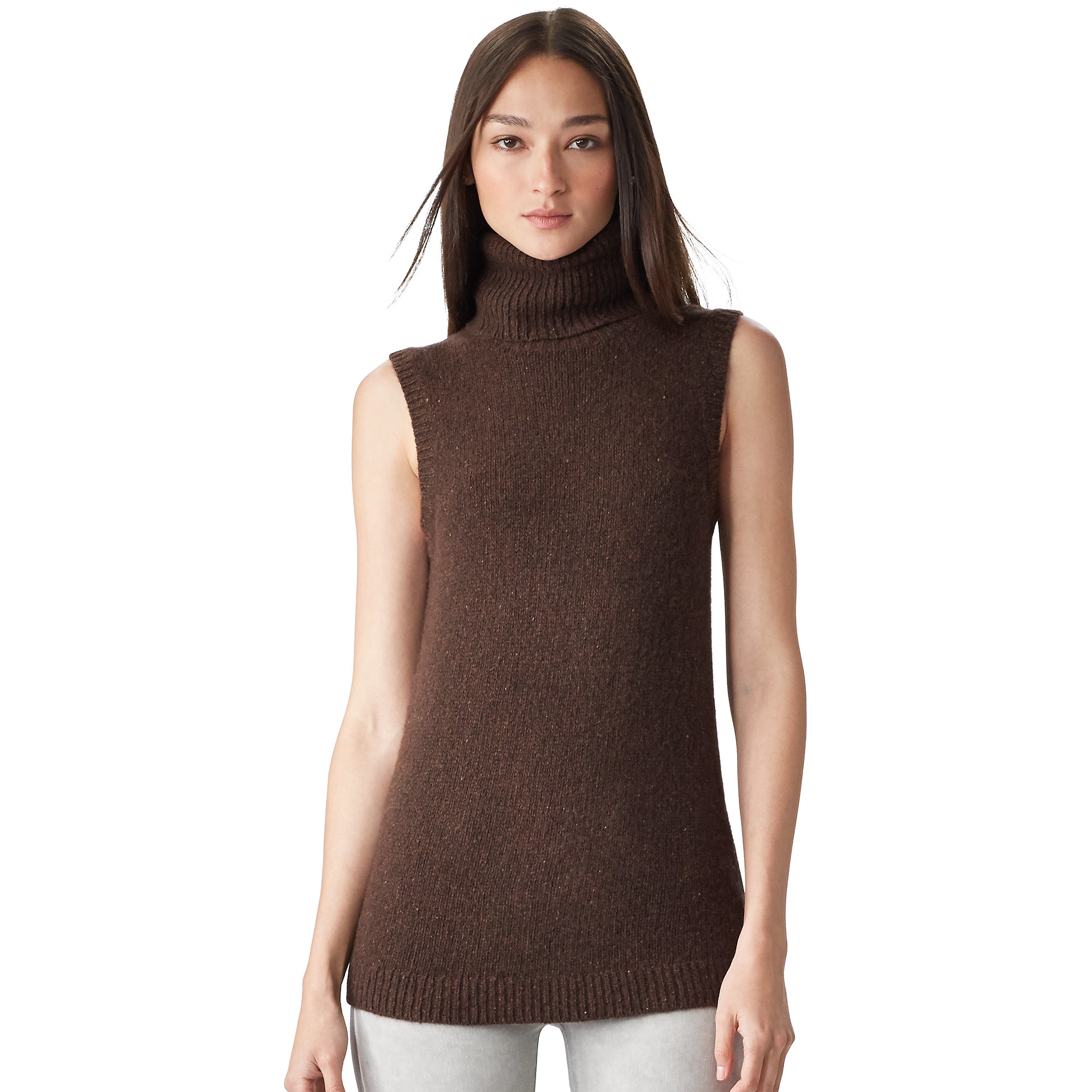Ralph lauren black label Cashmere Sleeveless Sweater in Brown | Lyst