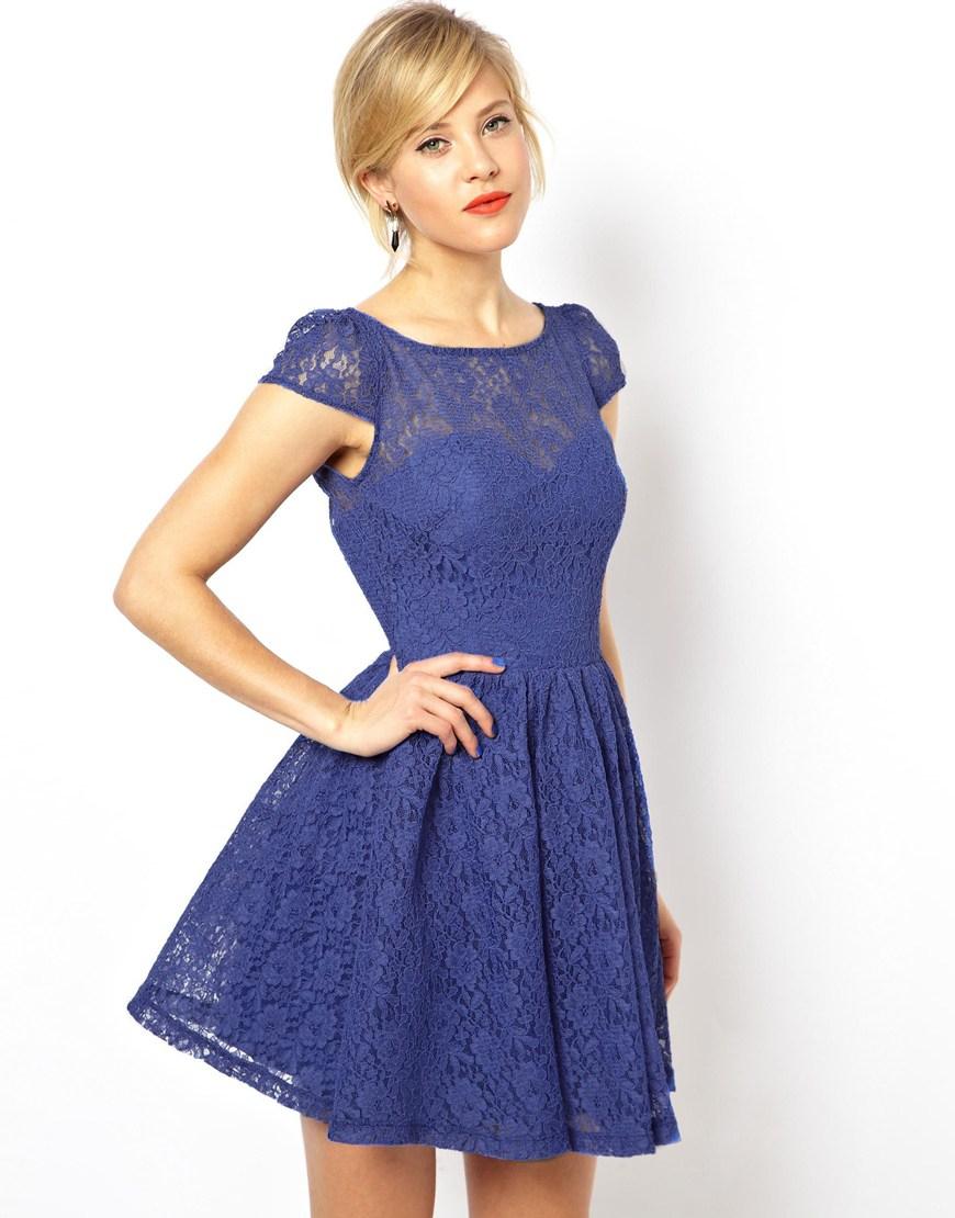 Lyst - Asos Lace Short Sleeved Skater Dress in Blue