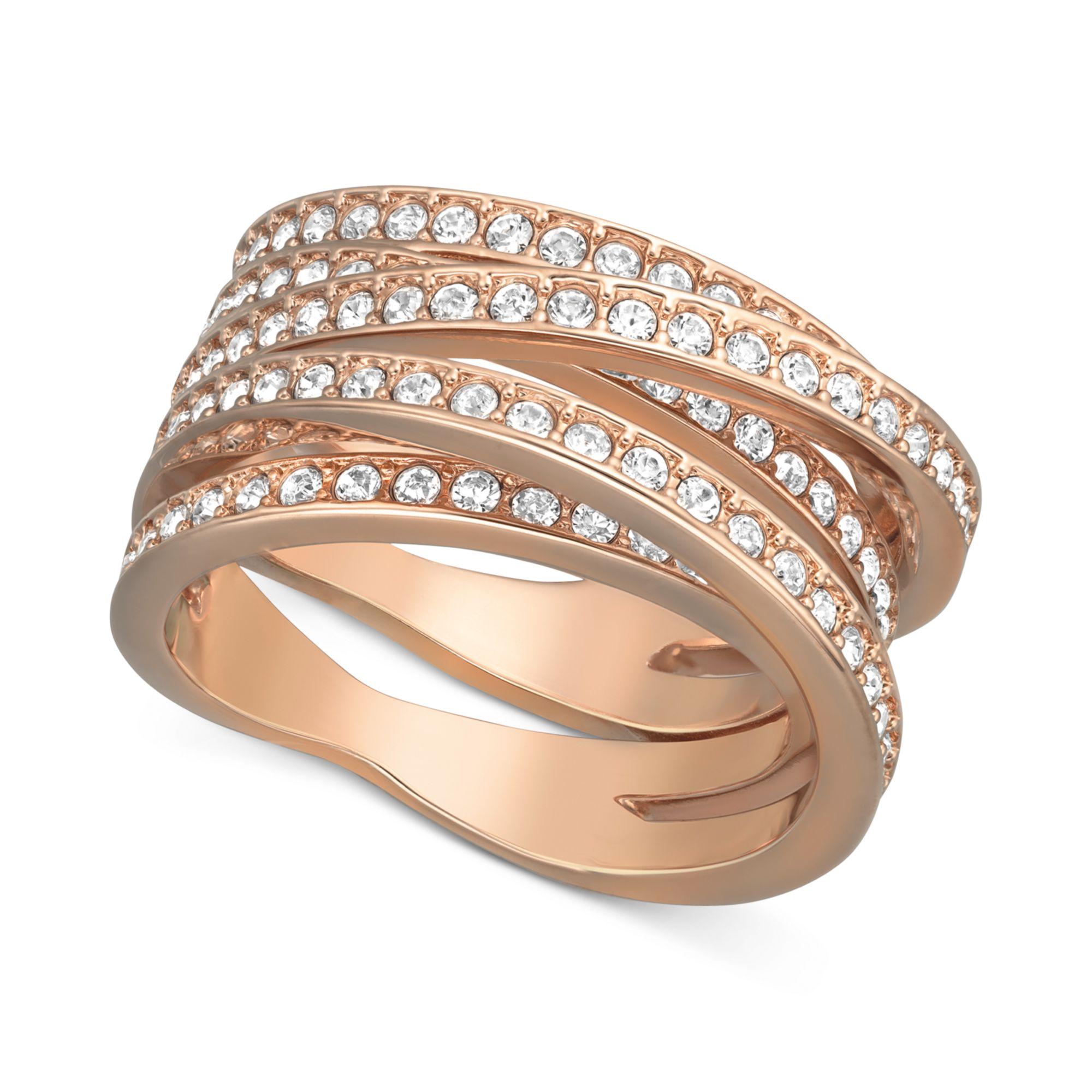 swarovski rose gold tone crystal crossover ring in gold rose lyst. Black Bedroom Furniture Sets. Home Design Ideas