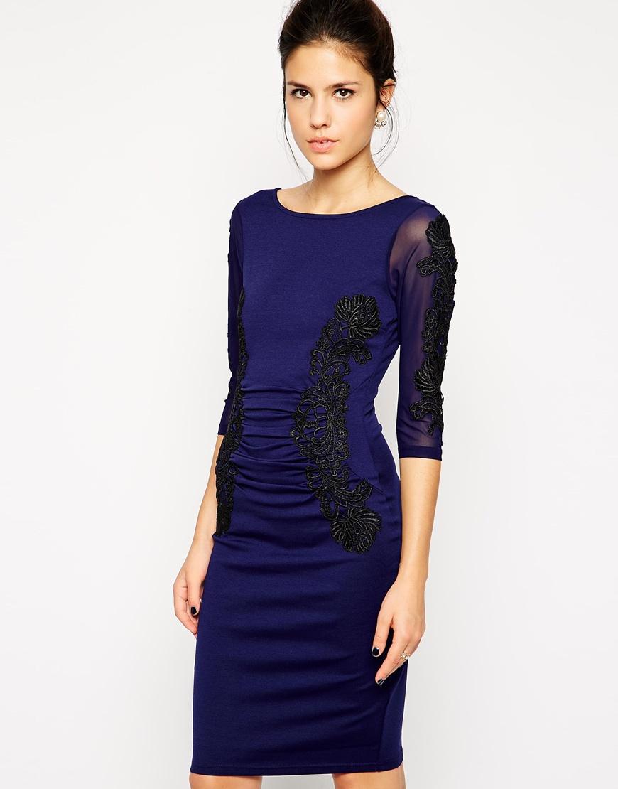 Lipsy sleeve mixed lace bodycon midi dress road