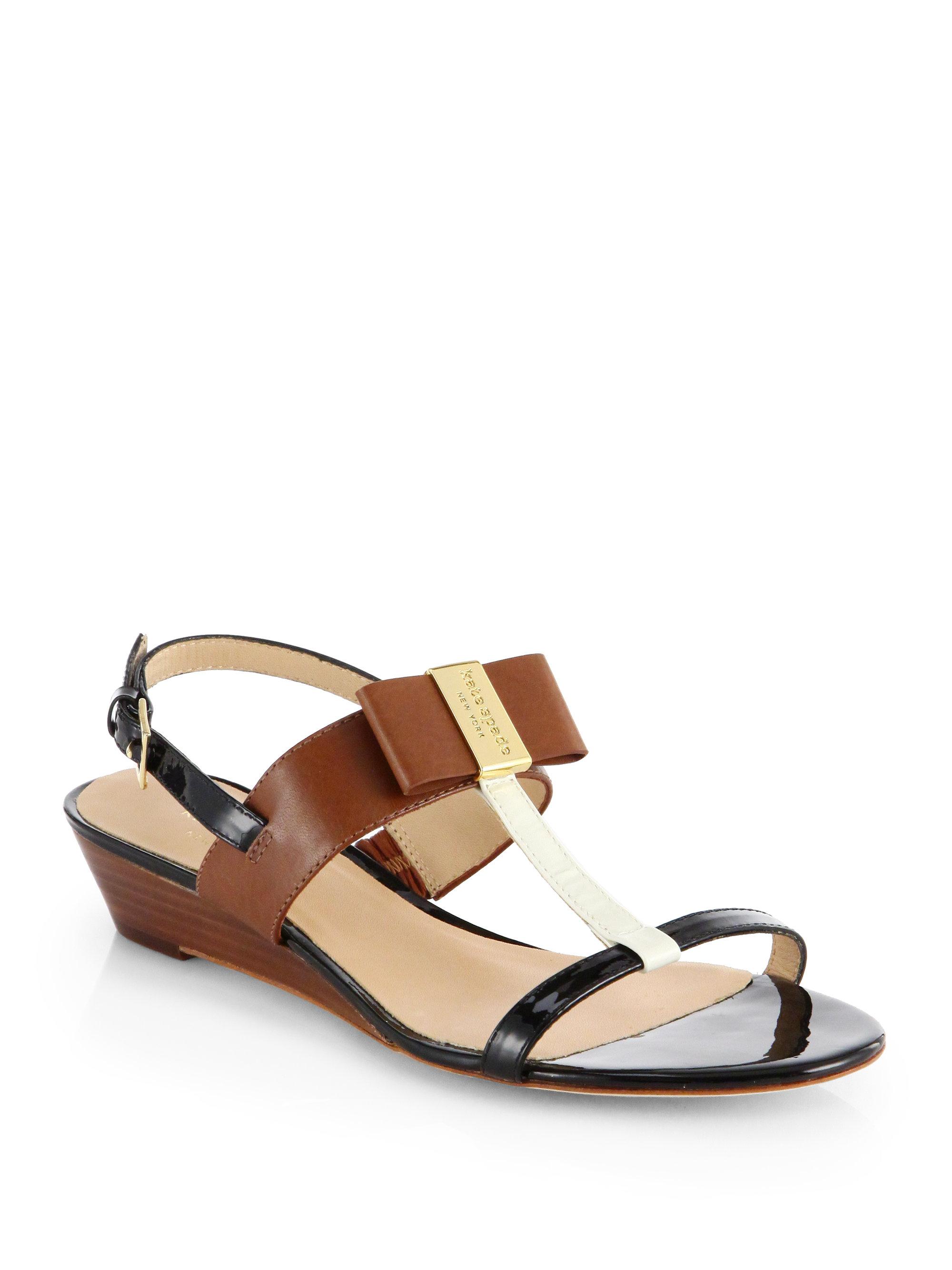 Kate Spade Vinny Leather T Strap Wedge Sandals In Black