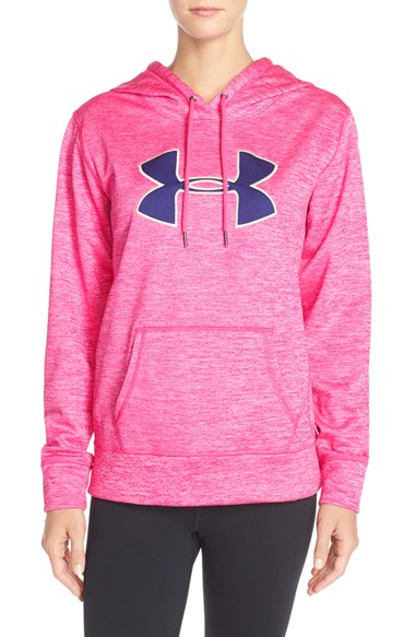 Under armour 'big Logo' Twist Water-resistant Hoodie in Pink | Lyst