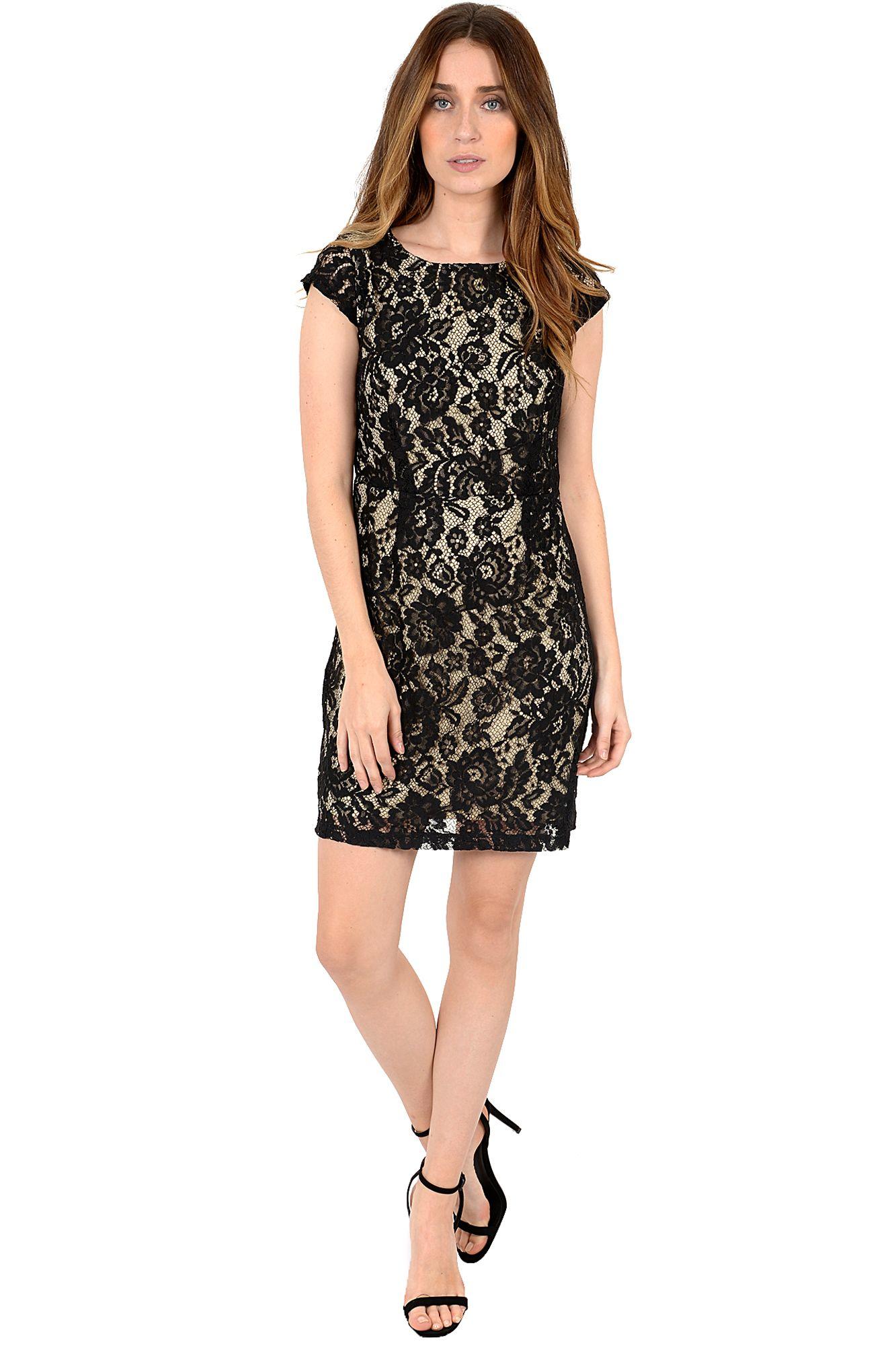 Galerry closet flared dress black white