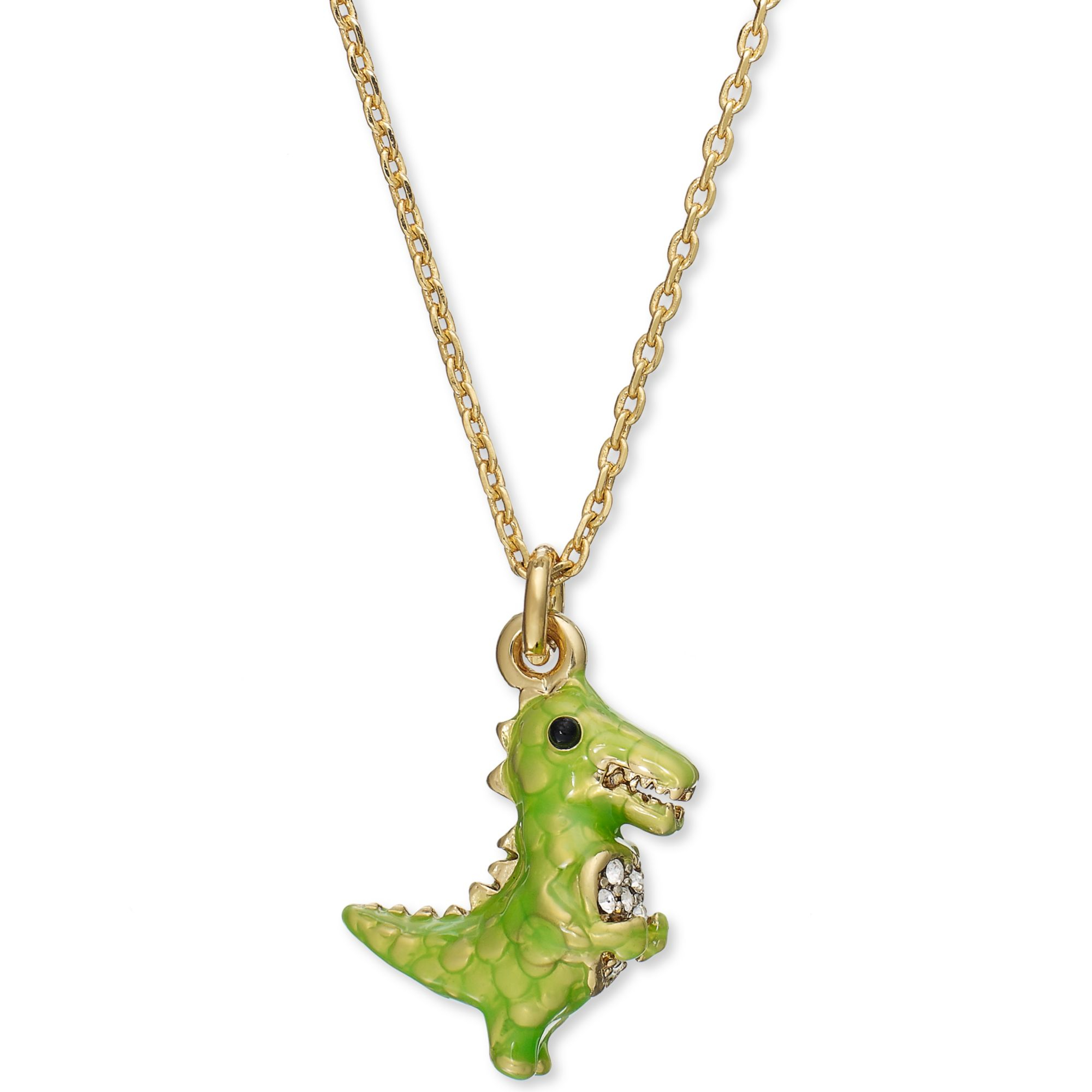 Lyst juicy couture goldtone dinosaur charm necklace in green gallery aloadofball Gallery