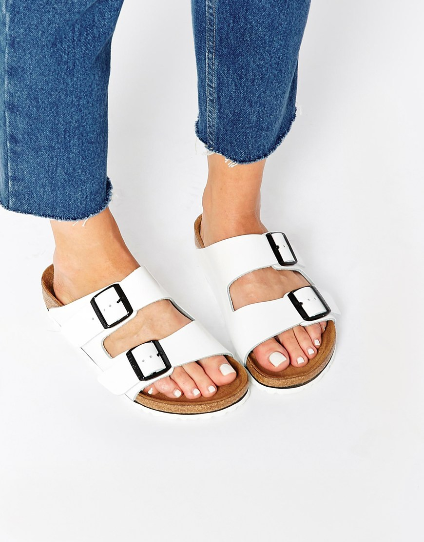 4f0b4bdbceb7b6 Lyst - Birkenstock Arizona White Patent Leather Regular Fit Slider ...