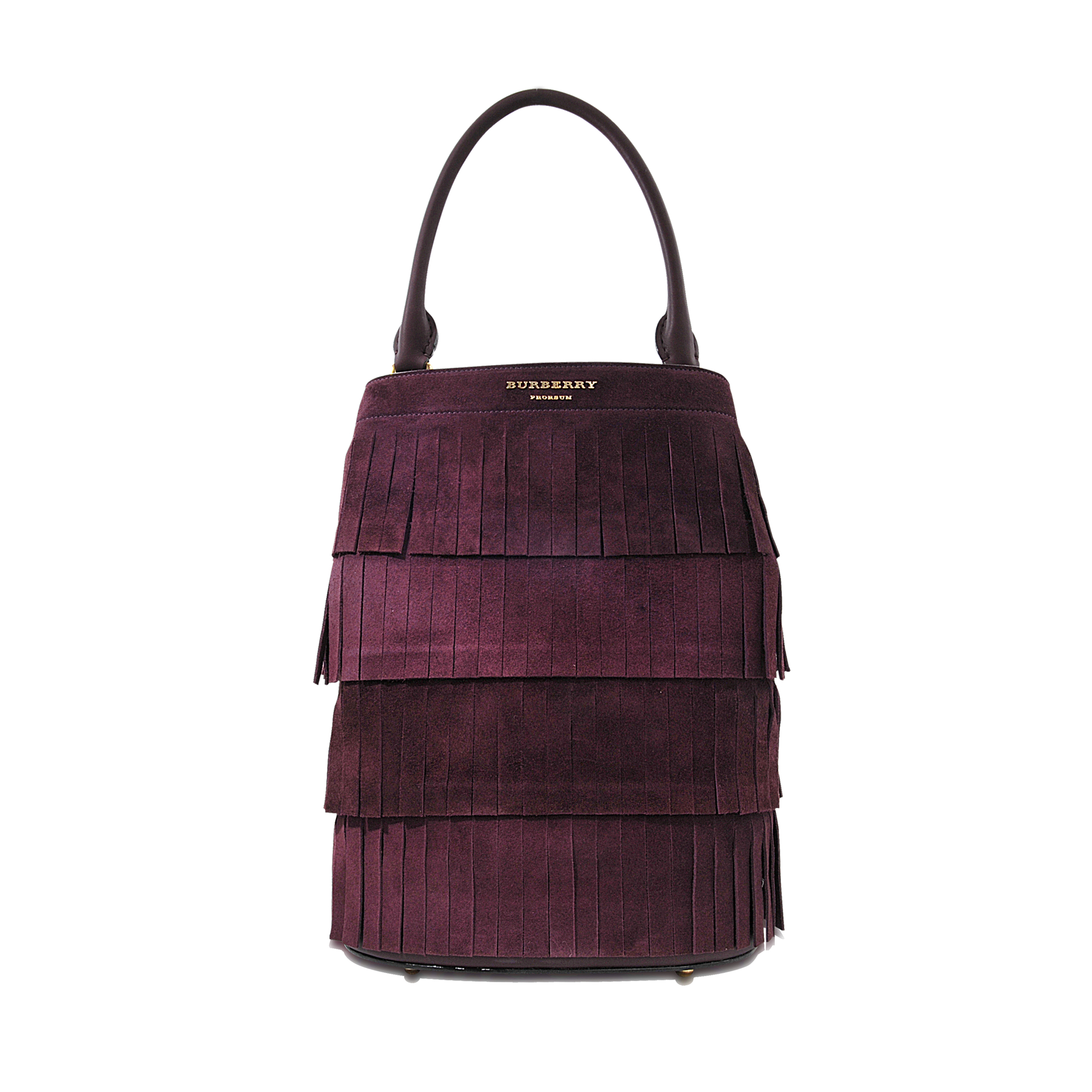 b216b4bfe2c Burberry Prorsum Suede Bucket Bag With Fringe in Purple - Lyst