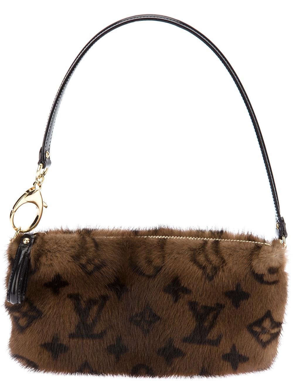 6c7f8c60f44f Lyst - Louis Vuitton Mink Fur Shoulder Bag in Brown