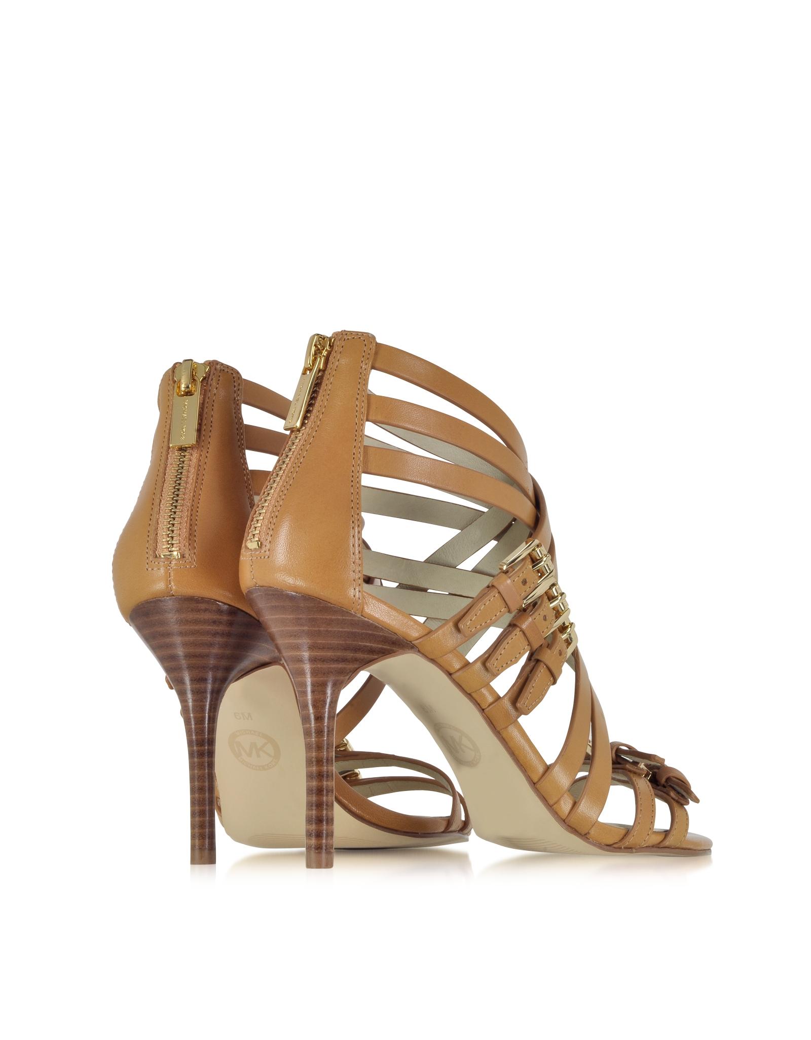 Lyst Michael Kors Ava Peanut Leather Sandal In Brown