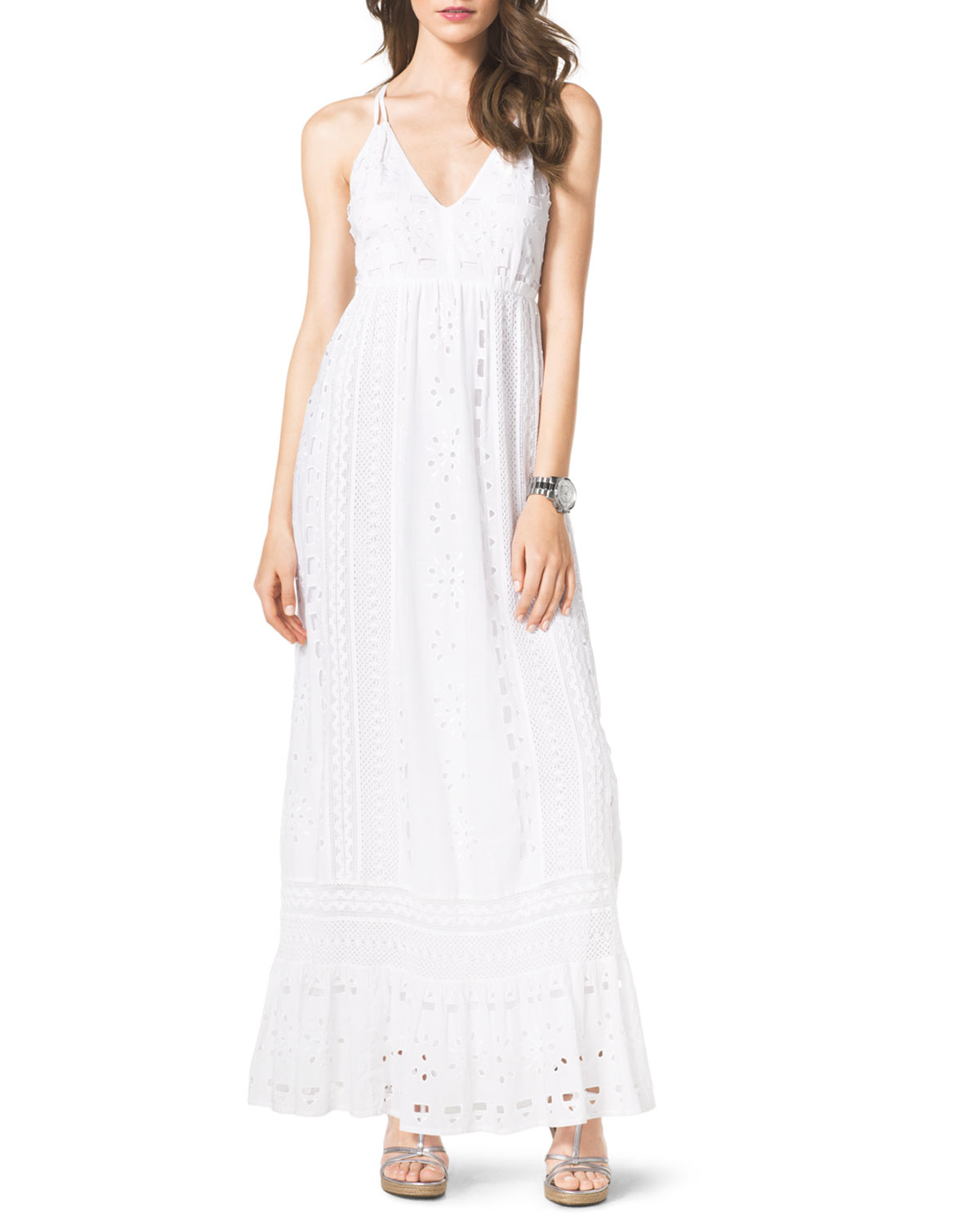 f10aeb1972c7 Lyst - MICHAEL Michael Kors Cotton Eyelet Maxi Dress in White