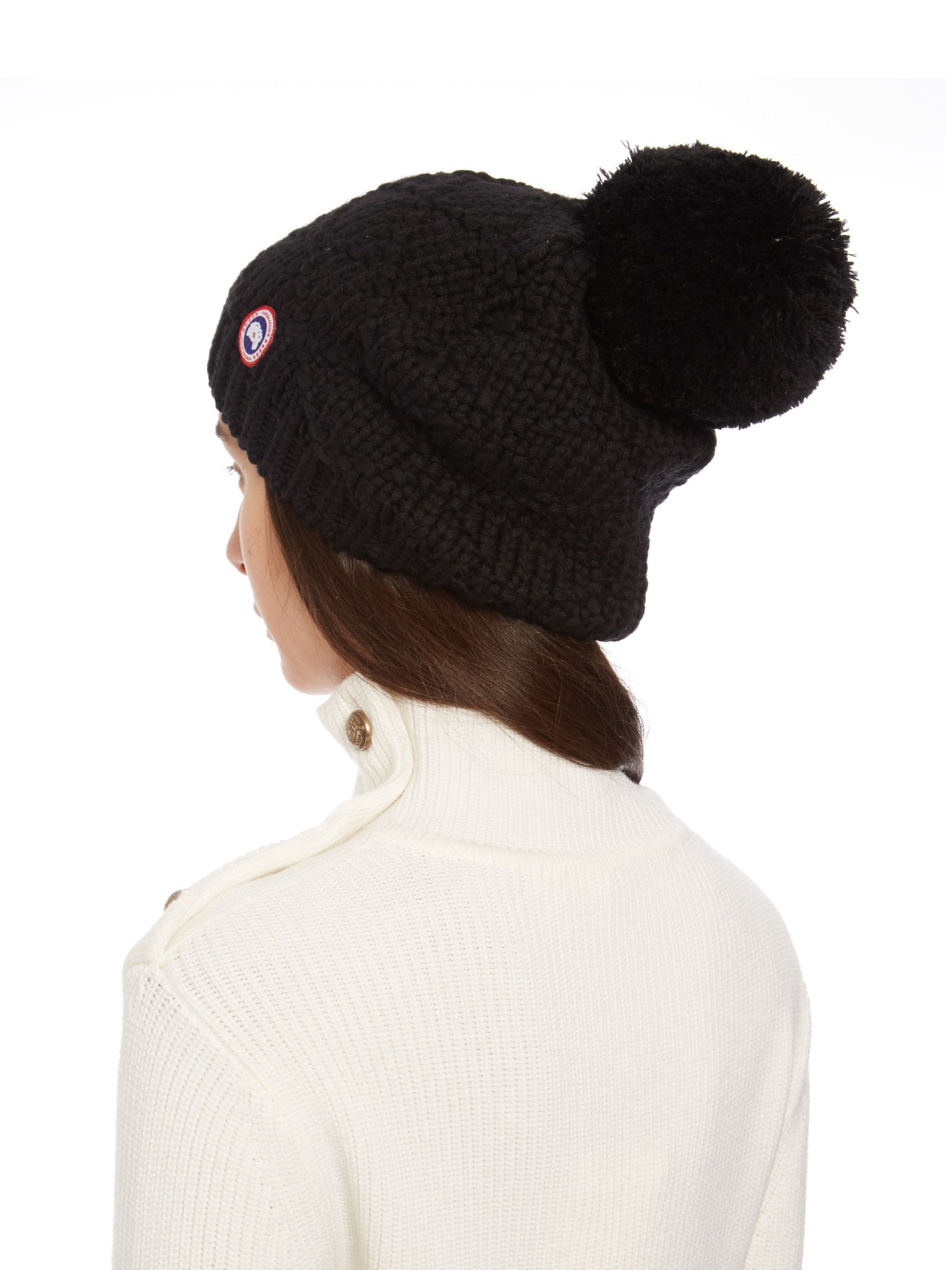 canada goose logo pom hat