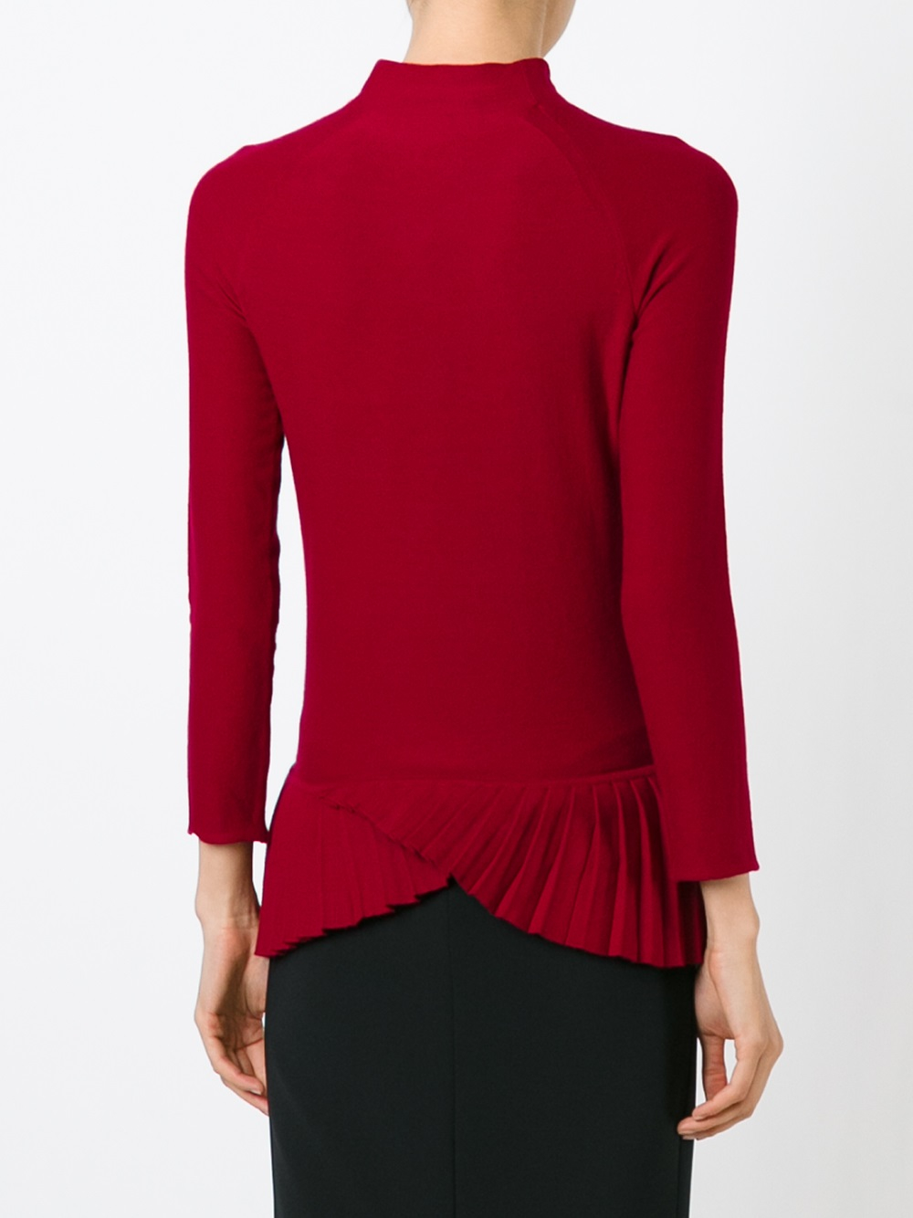 emporio armani pleated hem sweater in red lyst. Black Bedroom Furniture Sets. Home Design Ideas