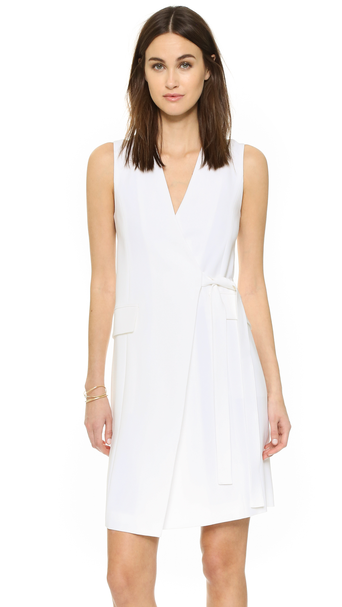 Lyst Theory Livwilth Dress In White
