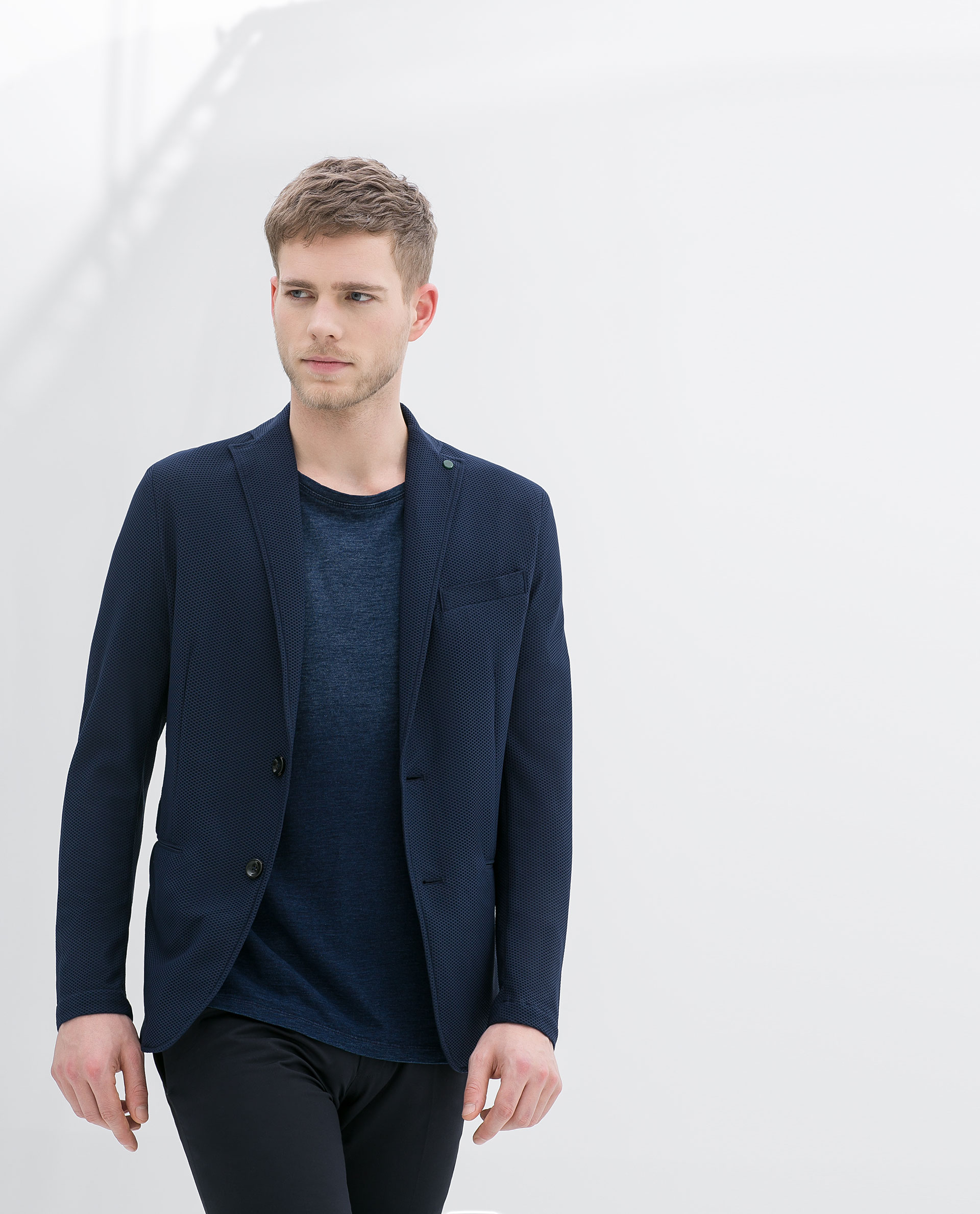 zara stretch blazer in blue for men lyst. Black Bedroom Furniture Sets. Home Design Ideas