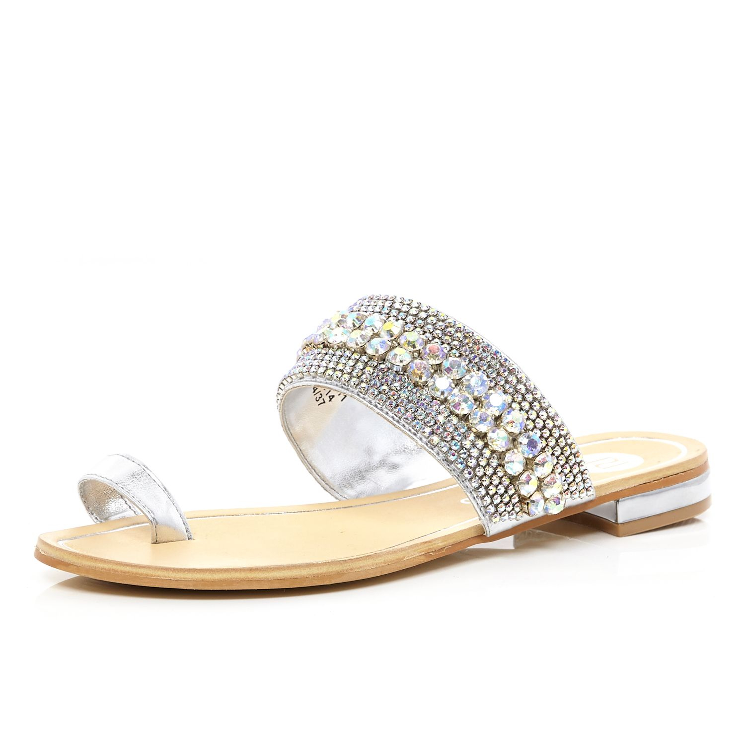 cbdf6e748902 River Island Silver Embellished Toe Loop Sandals in Metallic - Lyst