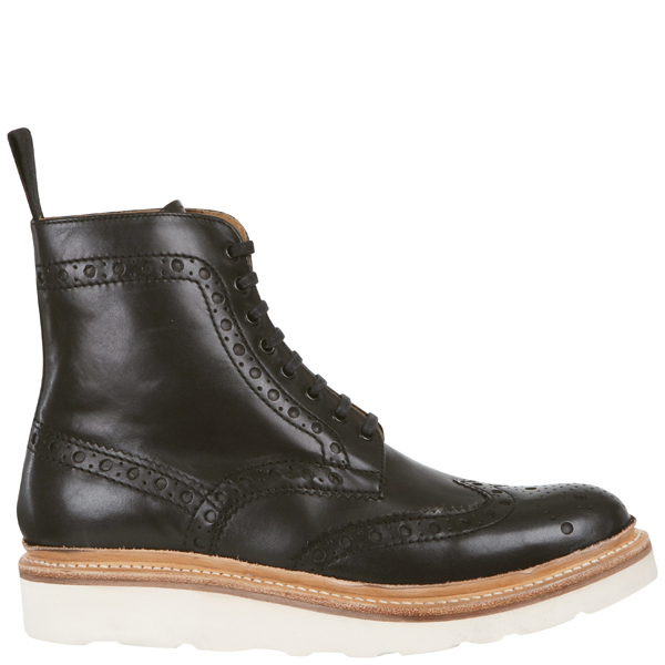grenson s fred v brogue boots in black for lyst