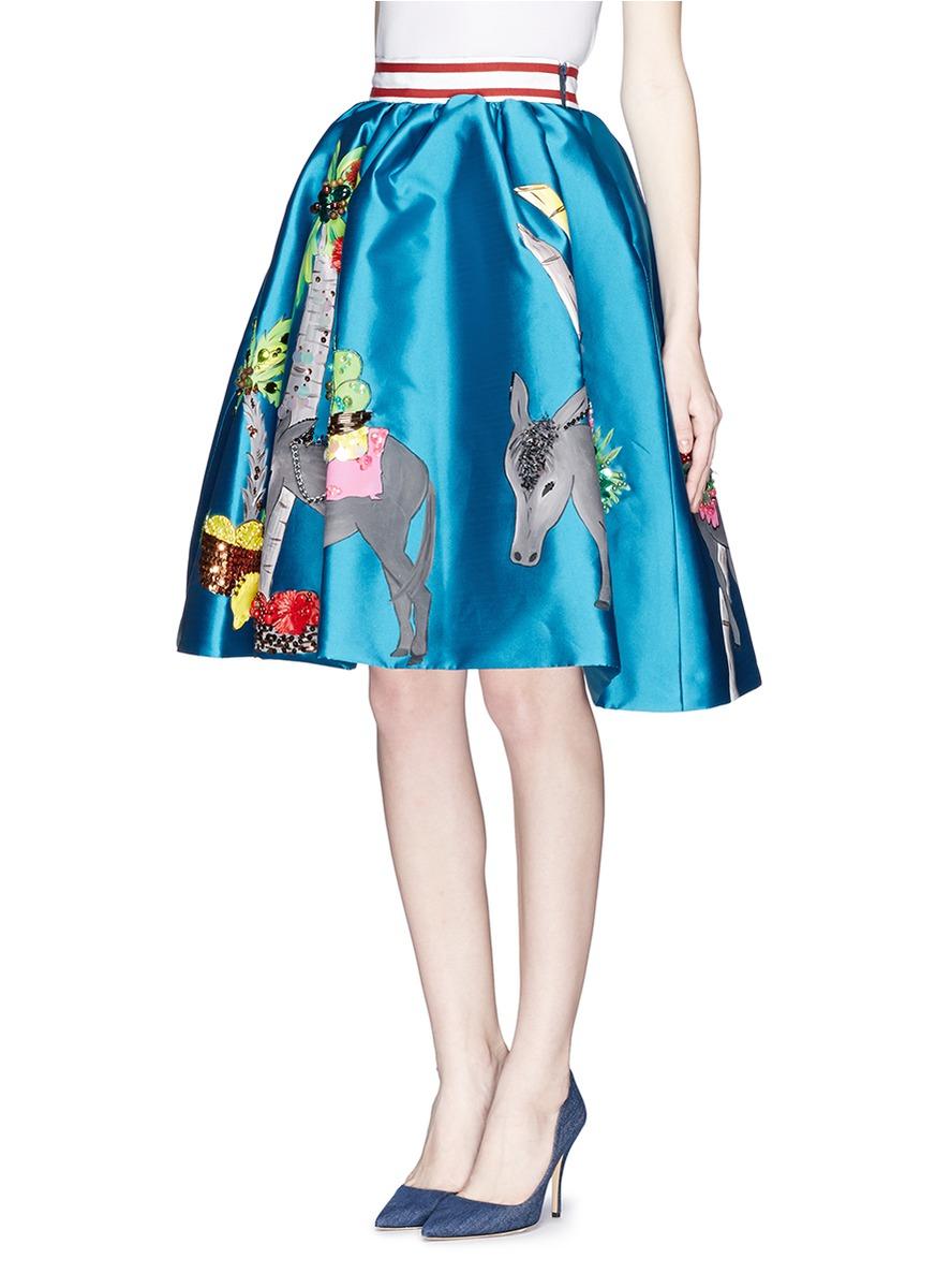 stella jean u0027orata u0027 donkey cart print pouf skirt in blue lyst