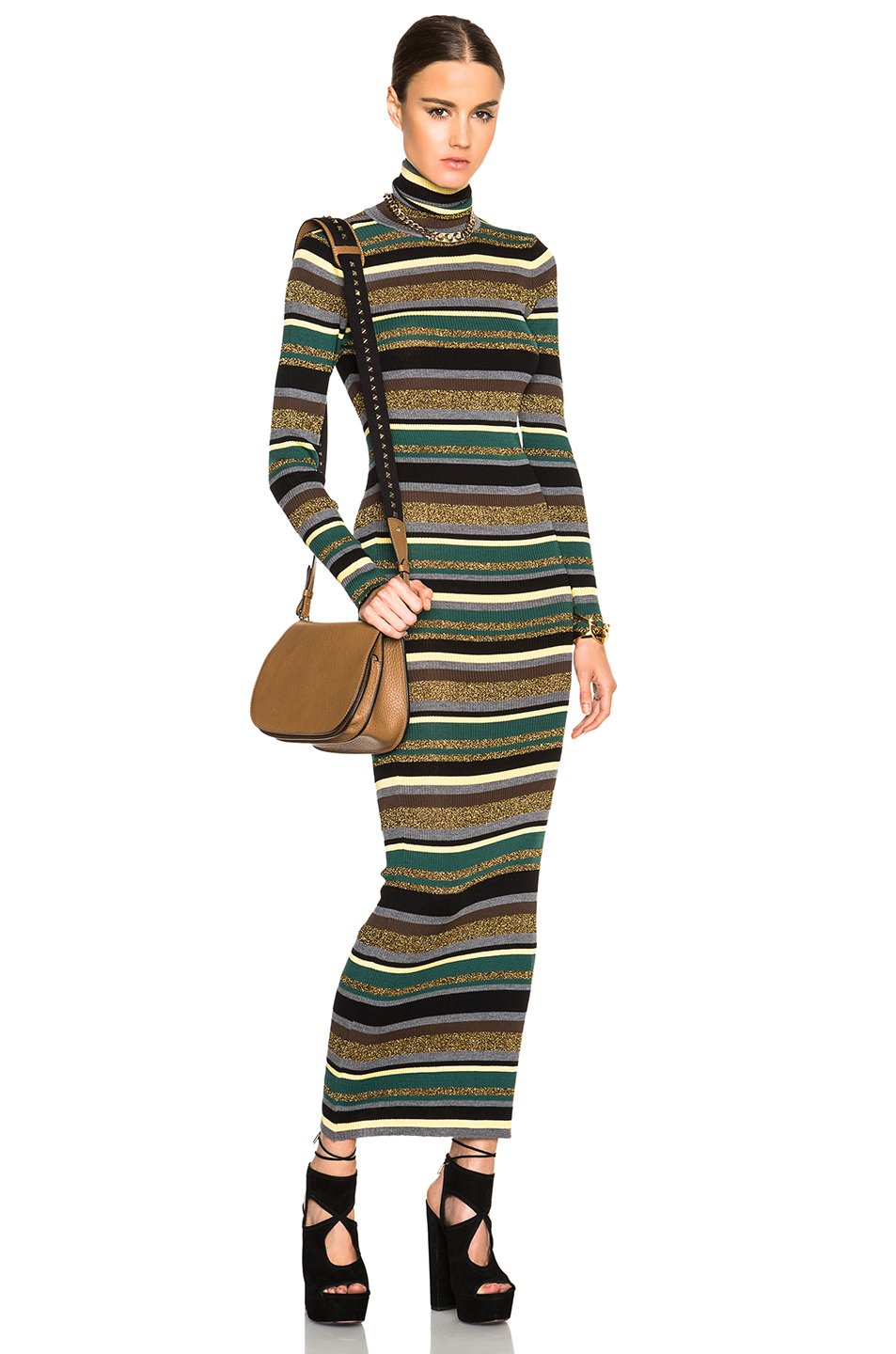 Emilio pucci Striped Knit Long Dress in Green | Lyst