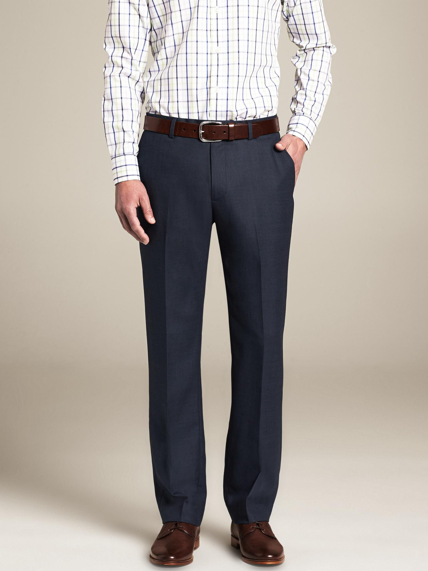 What About Dress Pants? Needed a dressier option? You need a men's pant that looks the part. The best men's pants for these occasions range from wool blends to non-iron fabrics engineered for the man on-the-go. Wool blend dress pants are a men's fashion pants must.