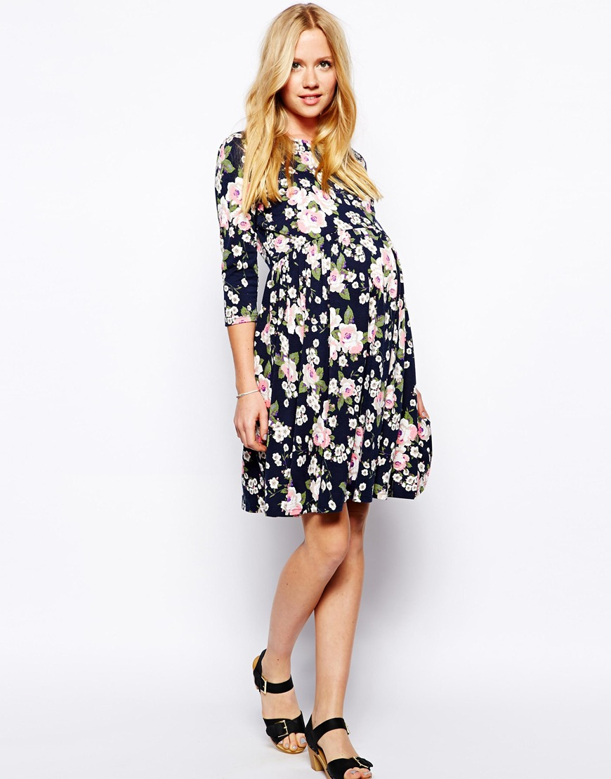 Asos Maternity Skater Dress in Floral in Floral (Multi) | Lyst