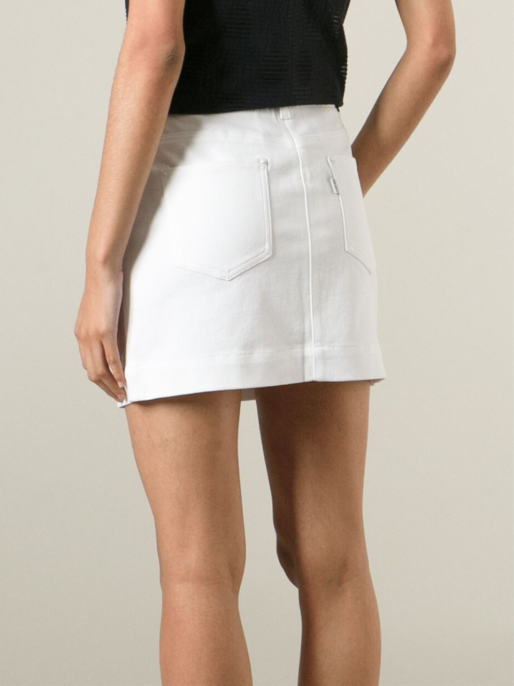 White Mini Denim Skirt - Dress Ala