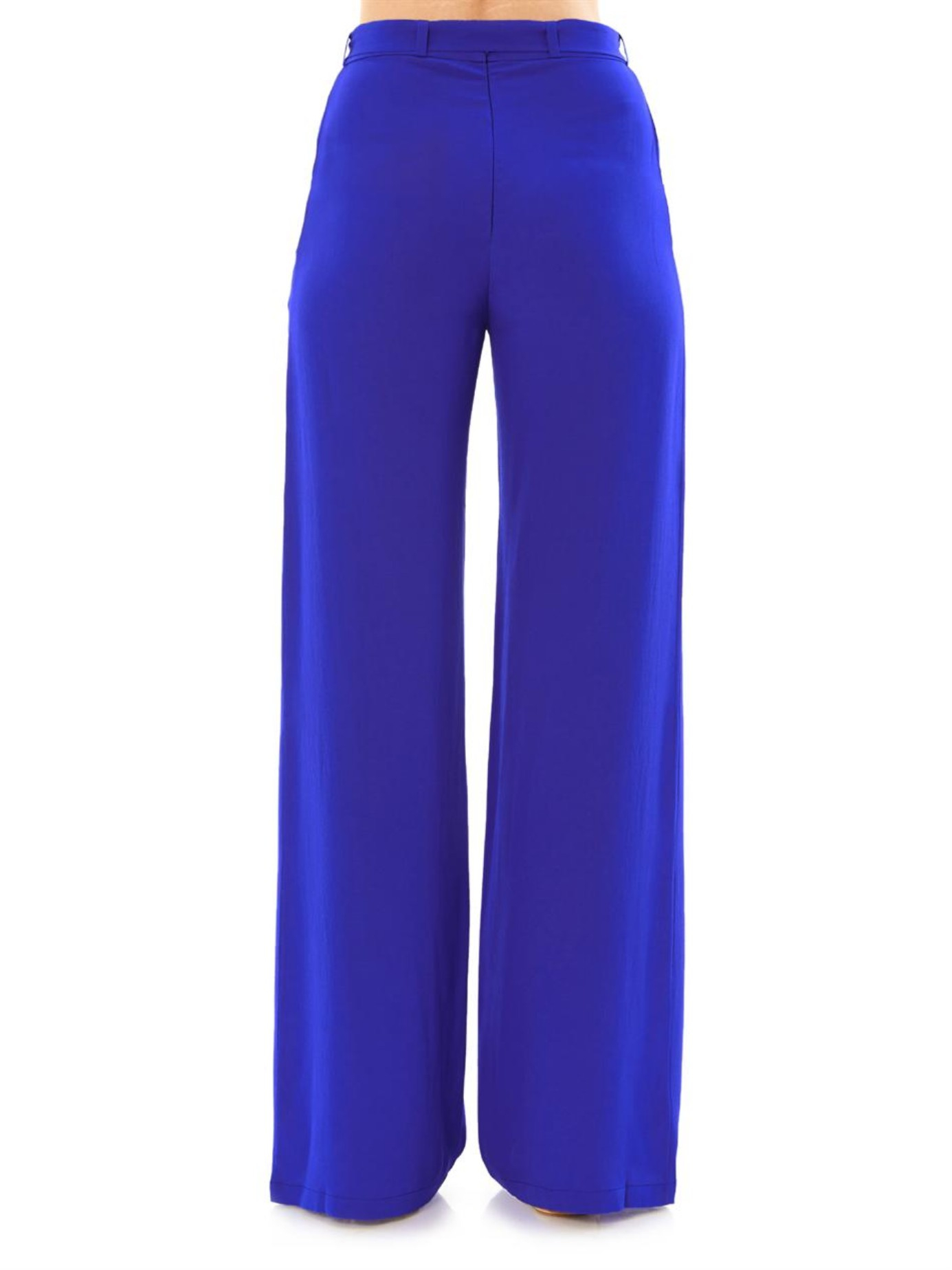 Saloni Loretta Wide-leg Trousers in Blue | Lyst