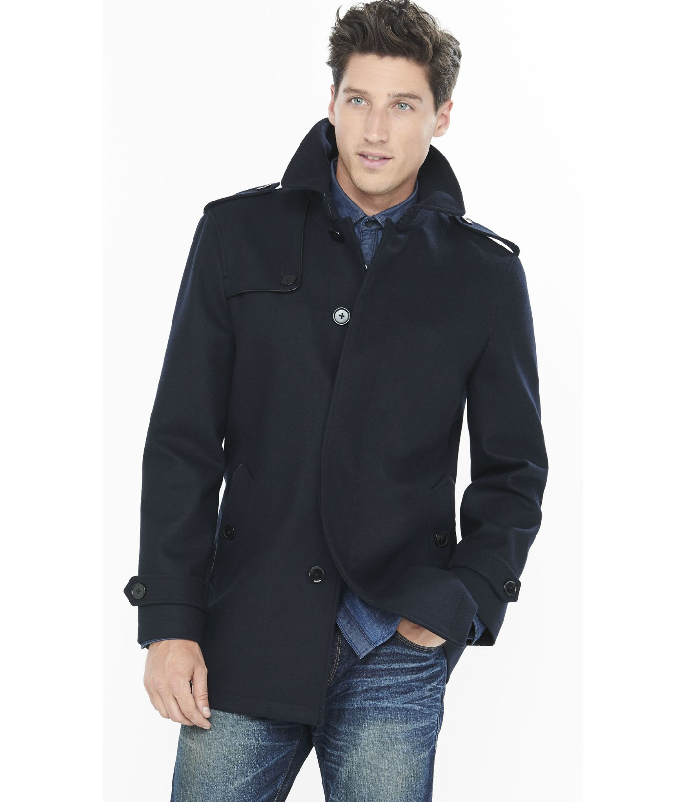 Express Navy Wool Commuter Coat in Blue for Men | Lyst