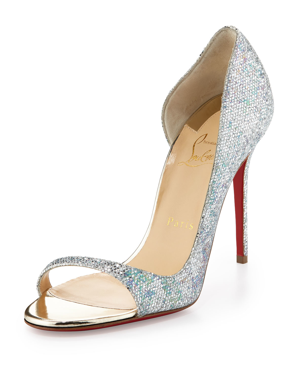 christian lubaton shoes - Christian louboutin Toboggan Glitter 100mm Red Sole Pump in ...