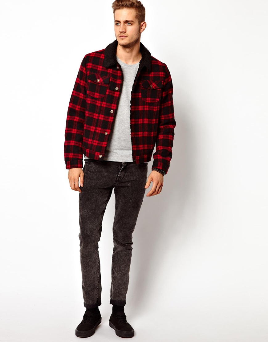 Asos wool check jacket in red for men lyst for Mens red wool shirt