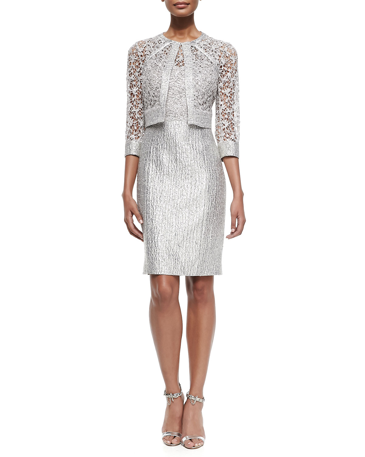 Lyst Kay Unger Sequined Lace Jacket Amp Sequined Lace
