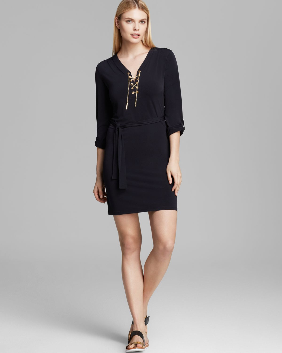 Michael Michael Kors Chain Lace Up Dress In Gold Navy