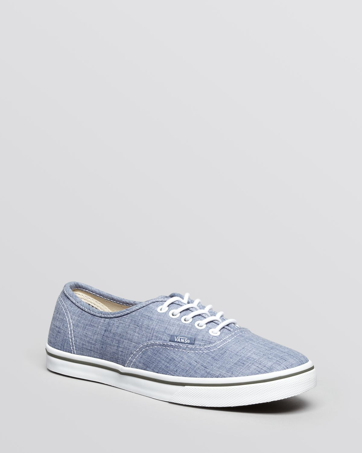 Lyst - Vans Flat Lace Up Sneakers Authentic Lo Pro Chambray in Blue de453f69befc