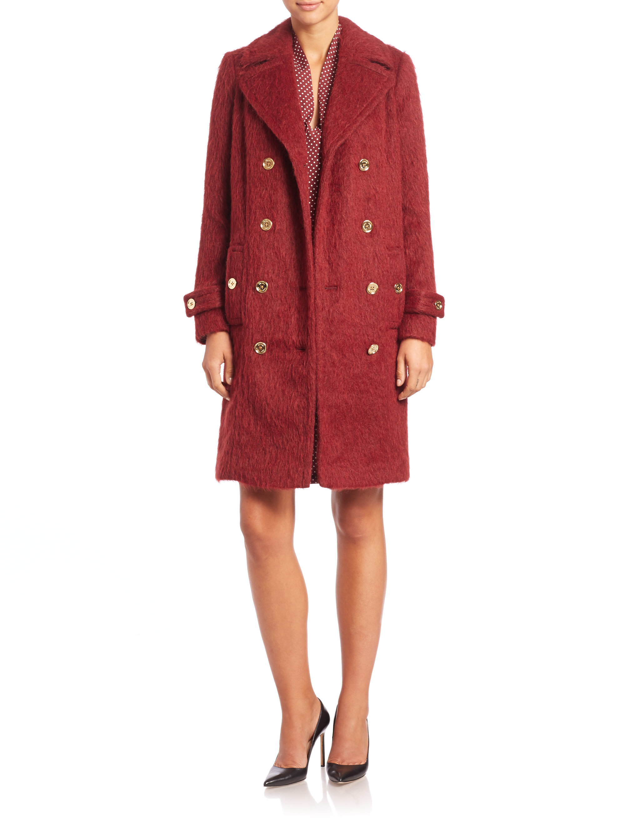 Michael michael kors Double-breasted Textured Coat in Purple   Lyst