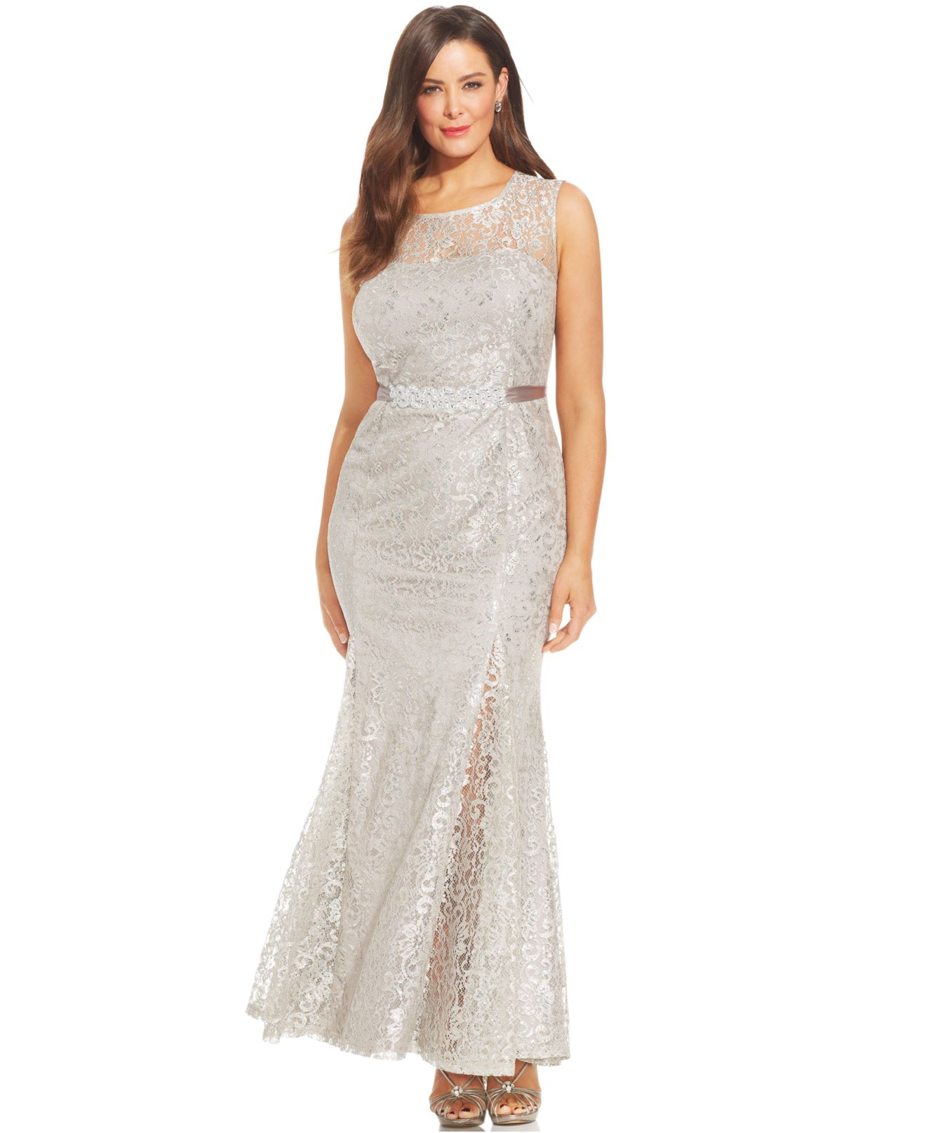 Lyst - Betsy & Adam Plus Size Metallic Lace Pleated Gown in Metallic