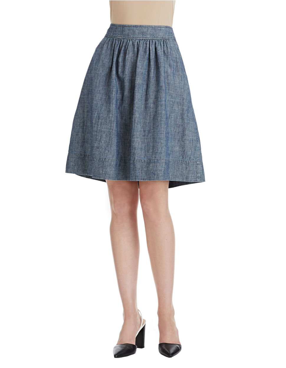 eileen fisher a line denim skirt in blue denim lyst