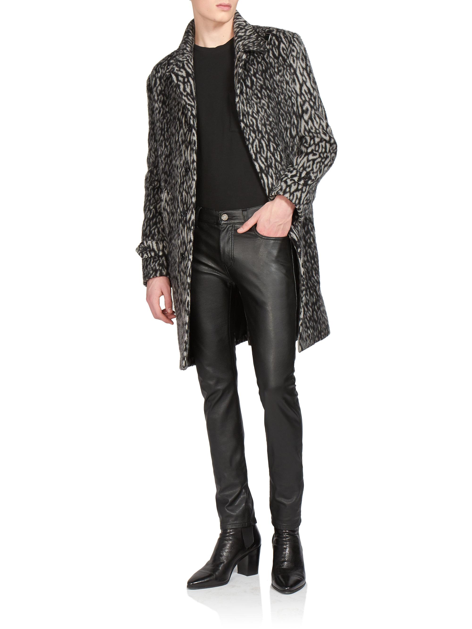 e178d64d254f Lyst - Saint Laurent Leopard-print Wool-blend Coat in Gray for Men