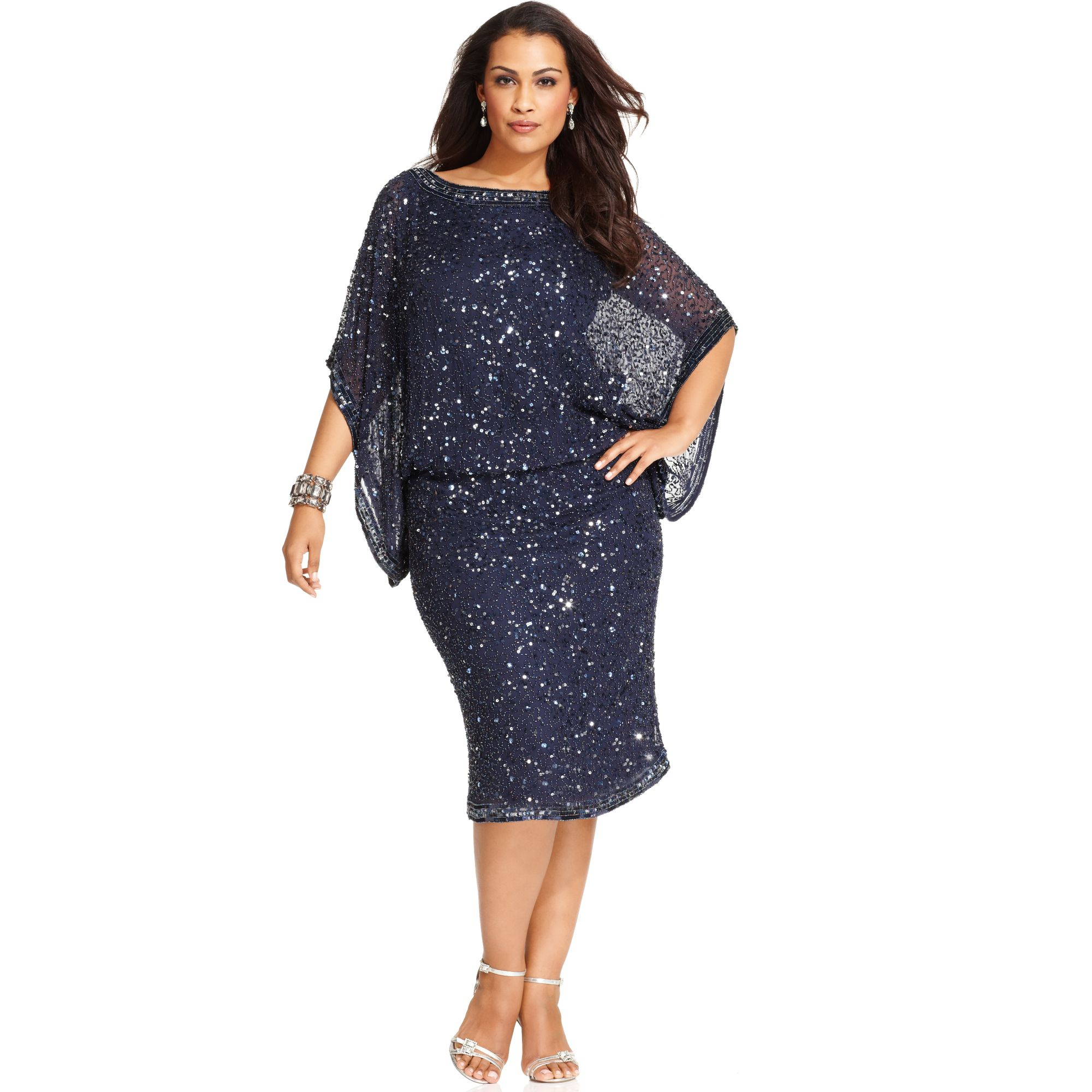 patra plus size kimono sleeve beaded dress in blue cobalt