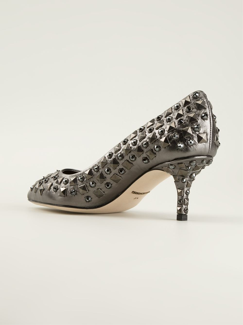 Lyst Dolce Amp Gabbana Studded Pumps In Gray