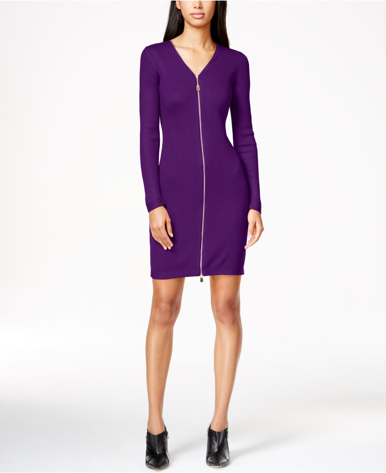 Calvin klein Zipper V-neck Sweater Dress in Purple | Lyst