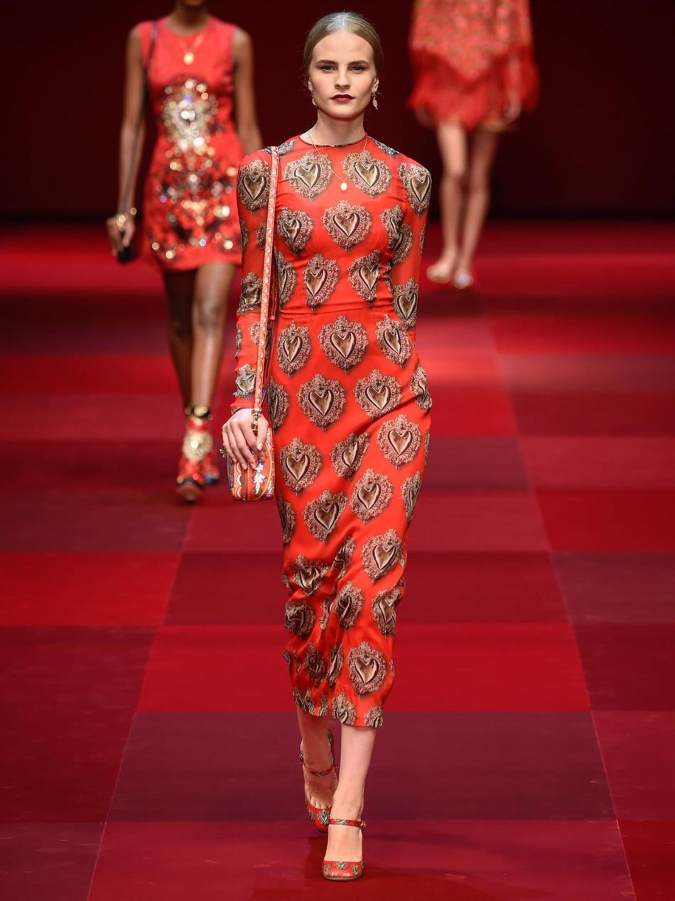d0d1e0b9fe Dolce   gabbana Sacred Heart Stretch-Chiffon Dress in Red