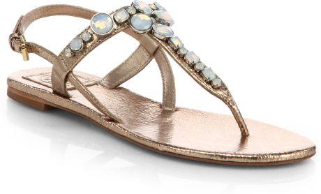 Tory Burch Adalynn Jeweled Metallic Leather Sandals In